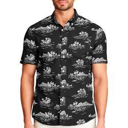 Mens Short Sleeve Scenic Print Button Down Shirt