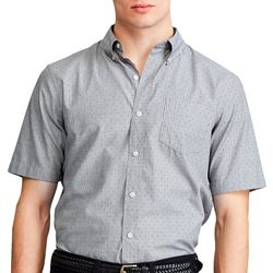 Chaps Mens Short Sleeve Dot Print Woven Shirt