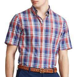 Mens Plaid Print Button Down Shirt