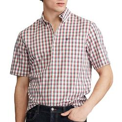 Mens Button Down Plaid Print Shirt
