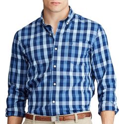 Chaps Mens Checkered Print Button Down Long Sleeve Shirt