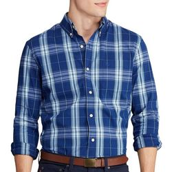 Chaps Mens Plaid Print Button Down Long Sleeve Shirt