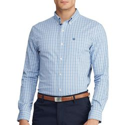 Chaps Mens Woven Gingham Button Down Long Sleeve