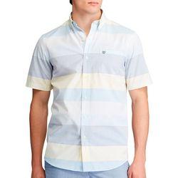 Chaps Mens Stripe Print Button Down Short Sleeve Shirt