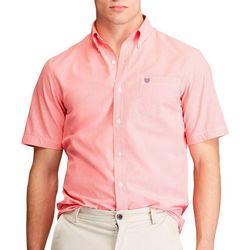 Chaps Mens Tatter Houndstooth Button Down Short Sleeve Shirt