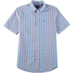 Chaps Mens Tatter Plaid Button Down Short Sleeve Shirt