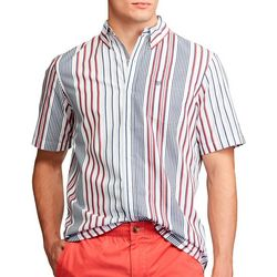 Chaps Mens Vertical Stripe Button Down Short Sleeve Shirt