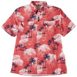 Mens Short Sleeve Red Palms Print Woven Shirt