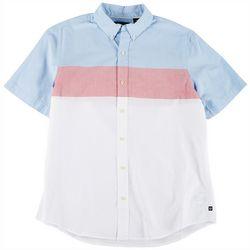 Chaps Mens Colorblock Stripe Button Down Shirt