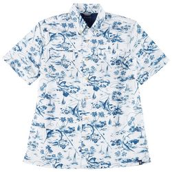 Chaps Mens Short Sleeve Blue Palms Print Woven Shirt