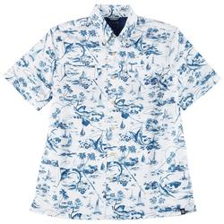 Mens Short Sleeve Blue Palms Print Woven Shirt