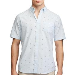 Mens Poplin Lime Print Button Down Shirt