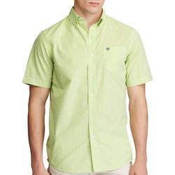Chaps Mens Gingham Print Short Sleeve Woven Shirt