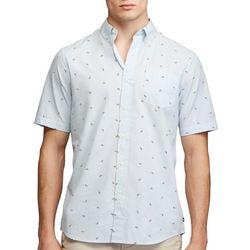 Chaps Mens Citris Print Button Down Short Sleeve Shirt