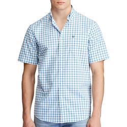 Mens Window Pane Plaid Button Down Short Sleeve Shirt