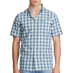 Chaps Mens Temp Control Plaid Short Sleeve Shirt