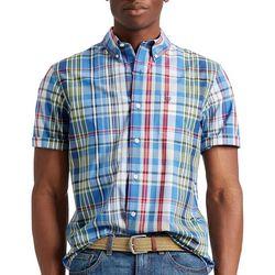 Chaps Mens Plaid Woven Button Down Short Sleeve Shirt