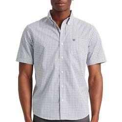Chaps Mens Basic Plaid Woven Button Down Short Sleeve Shirt