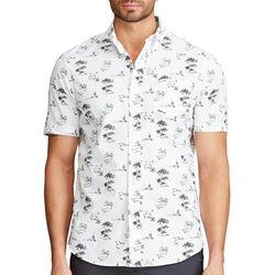 Chaps Mens Go Untucked Black & White Island Print Shirt