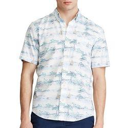 Chaps Mens Go Untucked Island & Sailboat Print Shirt