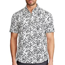 Chaps Mens Go Untucked Black & White Frond Print Shirt