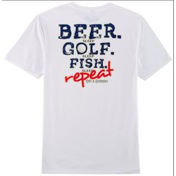 Grey & Disorderly Mens Beer Golf Fish Repeat T-Shirt
