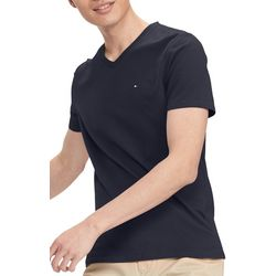 Tommy Hilfiger Mens Solid V-Neck Short Sleeve Shirt