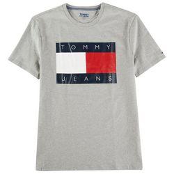 Tommy Hilfiger Mens Flag Logo Heathered Short Sleeve Shirt
