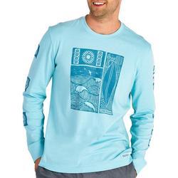 Mens Woodblock Beach Long Sleeve T-Shirt