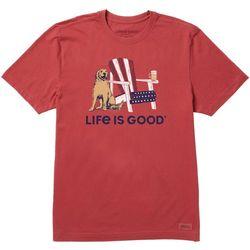 Life Is Good Mens Adironack Beer Patriotic T-Shirt
