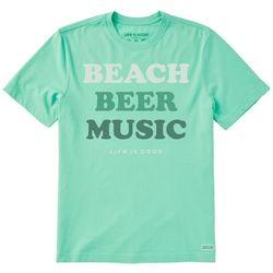 Life Is Good Mens Beach, Beer Music T-Shirt
