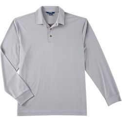 Windham Pointe Mens Window Pane Long Sleeve Polo Shirt
