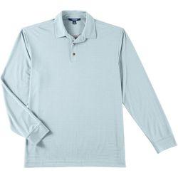 Windham Pointe Mens Window Pane Long Sleeve Polo Shirt