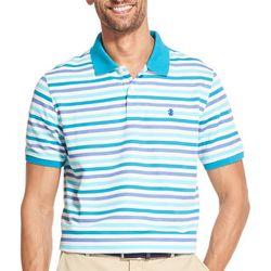 IZOD Mens Advantage Multi Stripe Print Polo Shirt