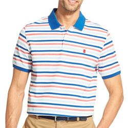IZOD Mens Advantage Short Sleeve Stripe Print Polo Shirt