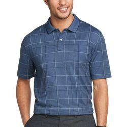 Mens Windowpane Short Sleeve Polo Shirt