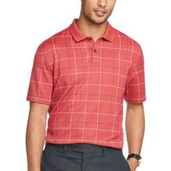 Van Heusen Mens Windowpane Short Sleeve Polo Shirt