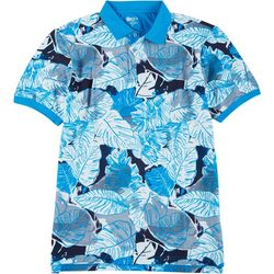Boca Classics Mens Palm Leaf Print Polo Shirt