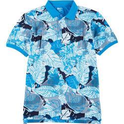Mens Palm Leaf Print Polo Shirt