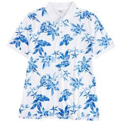 Mens Tropical Floral Print Polo Shirt