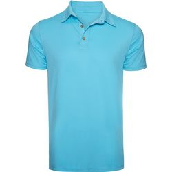 Caribbean Joe Mens Solid Textured Short Sleeve Polo Shirt
