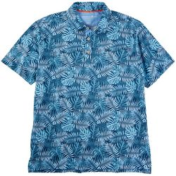 Caribbean Joe Mens Tropical Fronds Short Sleeve Polo Shirt