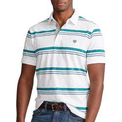Chaps Mens Teal Striped Slub Polo Shirt