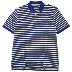 Chaps Mens Two Tone Striped Interlock Polo Shirt