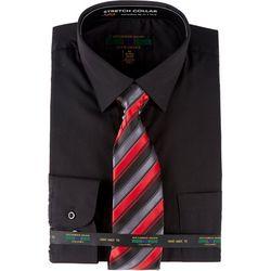 Mens Dress Shirt & Stripe Tie Set