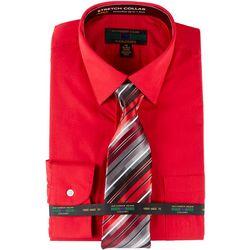 Mens Dress Shirt & Striped Tie Set