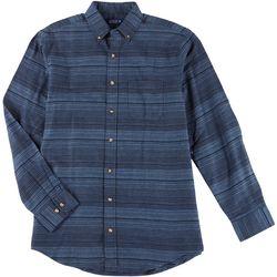 Mens Long Sleeve Stripe Flannel Shirt
