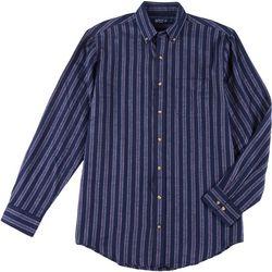 Mens Long Sleeve Vertical Stripe Flannel Shirt