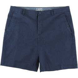 Chaps Mens Solid Flat Front Twill Shorts