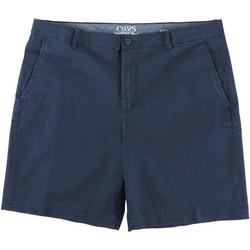 Mens Solid Flat Front Twill Shorts